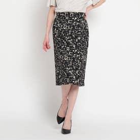 【洗える】キーラプリントタイトスカート (ブラック)