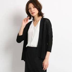 【洗える】シフォン切替メランジ調カーディガン (ブラック)