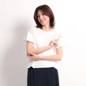【洗える】肩レース切替プルオーバー (ホワイト)