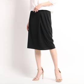 【洗える】タックタイトスカート (ブラック)