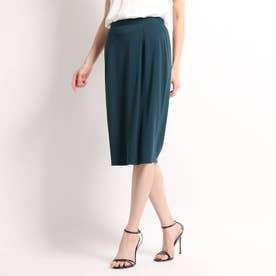 【洗える】タックタイトスカート (モスグリーン)