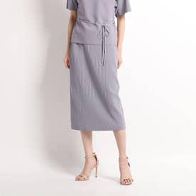 【洗える】ワイドリブタイトスカート (ライトパープル)