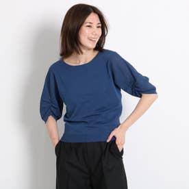 【洗える】袖コンシャスニット (ネイビー)