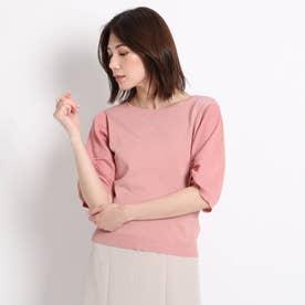【洗える】袖コンシャスニット (ピンク)