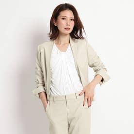 【洗える/スーツ】美シルエットノーカラージャケット (ナチュラル)