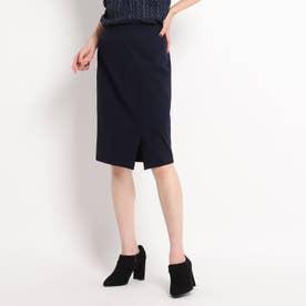 【WEB限定カラーあり/洗える/セットアップ対応】フロントスリット ポンチタイトスカート (ダークネイビー)