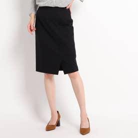 【WEB限定カラーあり/洗える/セットアップ対応】フロントスリット ポンチタイトスカート (ブラック)