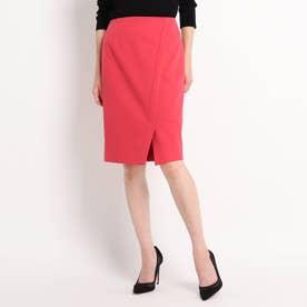 【WEB限定カラーあり/洗える/セットアップ対応】フロントスリット ポンチタイトスカート (ラズベリーピンク)