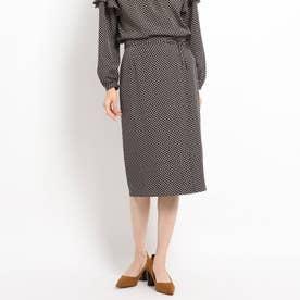 【洗える/セットアップ対応】スクエアドット ミモレタイトスカート (ブラック)