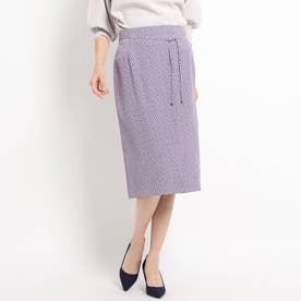 【洗える/セットアップ対応】スクエアドット ミモレタイトスカート (ライトパープル)