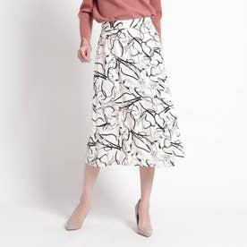 【洗える】モードデシン総柄スカート (ホワイト)