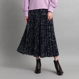 【洗える】総柄プリーツスカート (ブラック)
