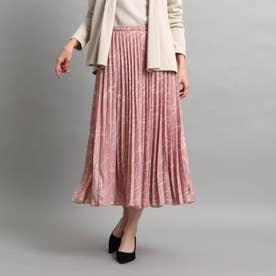 【洗える】総柄プリーツスカート (ピンク)