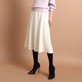 リールスムースミモレ丈スカート (ホワイト)