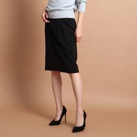 【洗える】ライクジャージタイトスカート (ブラック)