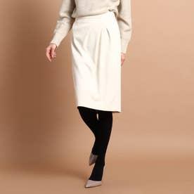 【洗える】ライクジャージタイトスカート (ホワイト)