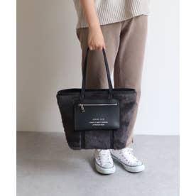 合皮ポケット付きエコファートートバッグ (ブラック)