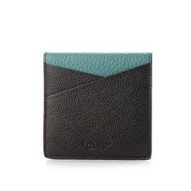 カラーブロック フォールテッド カード ケース mens (ブラック / ティール)