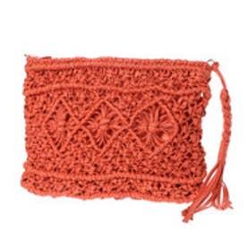 ●ロウヒモ編み込み2WAYクラッチ (オレンジ)