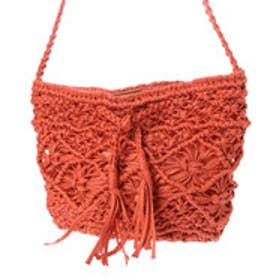●ロウヒモ編み込みフリンジ巾着バッグ (オレンジ)