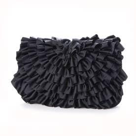 クーコCOOCOグログランフラワーモチーフクラッチバッグ (ブラック)