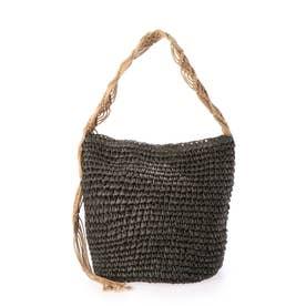 かごバッグ レディース ショルダーバッグ 大人 マクラメ編み 柔らかい A4 (カーキ)