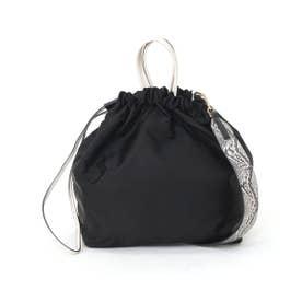 トートバッグ レディース パイソン ショルダーバッグ 巾着 ナイロン A4 通勤 通学 (ブラック)