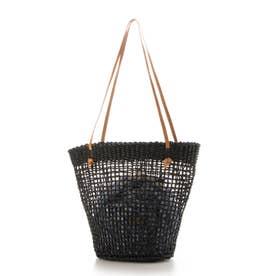 チェック柄巾着付ヌメ革ハンドルかごトートバッグ/A4対応 (ブラック雑材)