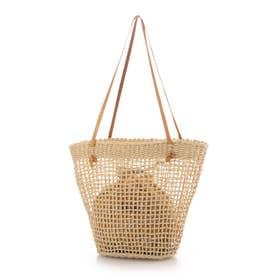 チェック柄巾着付ヌメ革ハンドルかごトートバッグ/A4対応 (ナチュラル雑材)