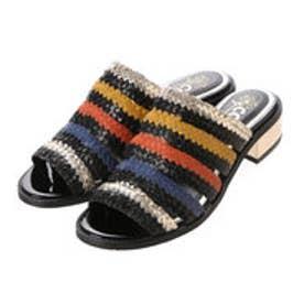 coca / リゾート スリッパミュール メタリック 手編みメッシュ 3cm ローヒール (ブラック)