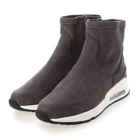 ラメ&ストレッチ 厚底ソール ハイカット スニーカー ブーツ (グレー)