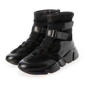 厚底ボリュームソール ベルクロ ストレッチ スニーカー ショートブーツ (ブラック)