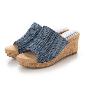 ラフィア風 涼しげ  8cm 美脚 ウェッジソール 編みミュール (ブルー)