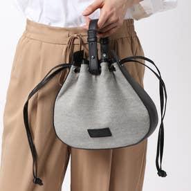 〔モノコムサ〕 《ショルダー付》キャンバス×フェイクレザー 巾着 ハンドバッグ (ブラック)