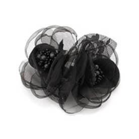 2輪フラワー コサージュ (ブラック)【オケージョン・フォーマル・結婚式・お呼ばれ】