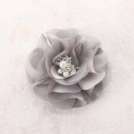 サテン×オーガンジーフラワーコサージュ (グレー)【オケージョン・フォーマル・結婚式・お呼ばれ】