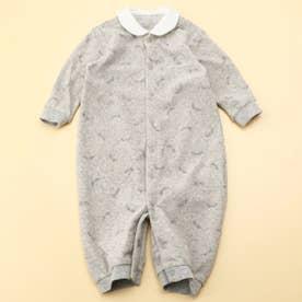 羽プリント 長袖ツーウェイオール(50-70サイズ) (ライトグレー)