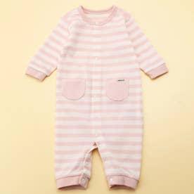 動物モチーフ お尻パッチ付き 長袖ツーウェイオール(50-70サイズ) (ピンク)