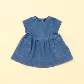 ジャージーデニム 半袖ワンピース(80・90サイズ) (ブルー)