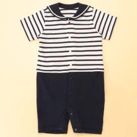 セーラーカラー 半袖ツーウェイオール(50-70サイズ) (ホワイト)