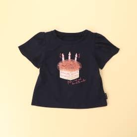 ケーキプリント 半袖Tシャツ(80・90サイズ) (ネイビー)