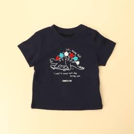 恐竜プリント 半袖Tシャツ(80・90サイズ) (ネイビー)