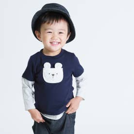 動物アップリケ付き レイヤード長袖Tシャツ(80・90サイズ) (ネイビー)