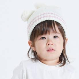 うさぎ耳 ニットキャップ(44-50サイズ) (ホワイト)