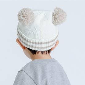 くま耳 ニットキャップ(44-50サイズ) (ホワイト)