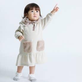 ファーティペット付き 長袖ワンピース(80・90サイズ) (ベージュ)