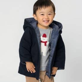 《リバーシブル》中綿コート(80・90サイズ) (ネイビー)