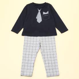 長袖Tシャツと10分丈パンツが入った ギフトセット(80・90サイズ) (ネイビー)
