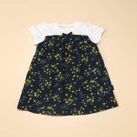 フラワープリント 半袖ワンピース(80・90サイズ) (ネイビー)