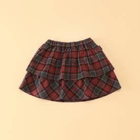 タータンチェック ブルマ付きスカート(80・90サイズ) (レッド)
